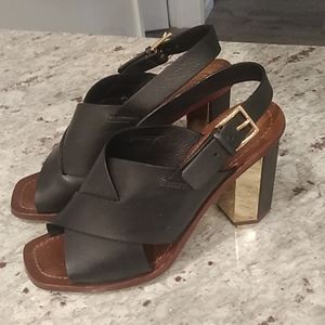 Tory Burch leather heeled sandals 8.5